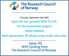 Ispas AS  Thursday, September 24th 2020 Ispas AS was granted NOK 15 mill. for the innovation project ISPAS OMNIA  Next generation 3D phase array multi-role radar